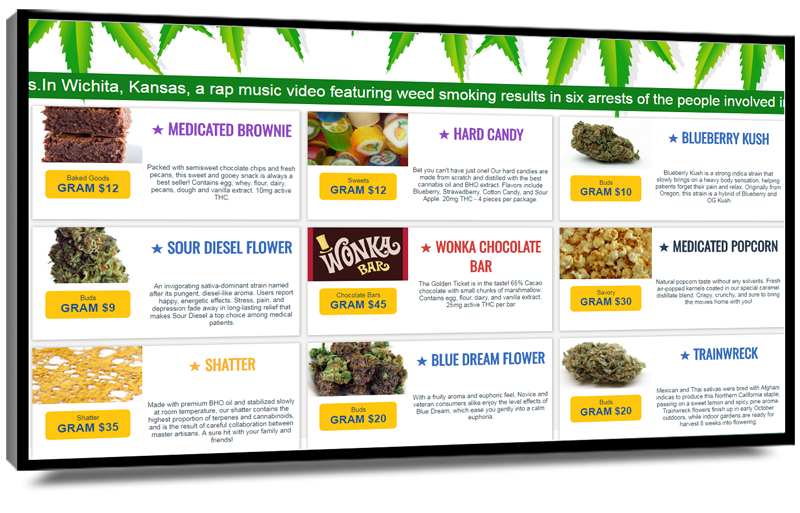 POS-integrated digital menu boards for cannabis dispensaries - Mvix digital signage