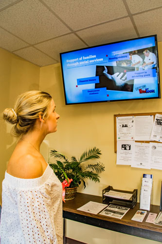 digital signage at social services agency